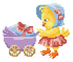 Схема для вышивания бисером Пасхальный цыпленок