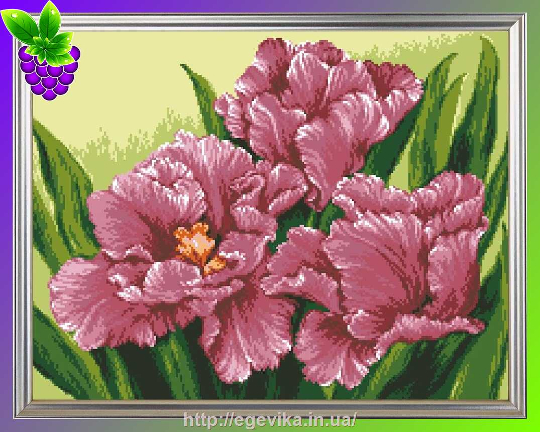 Вышивка розовые тюльпаны 15