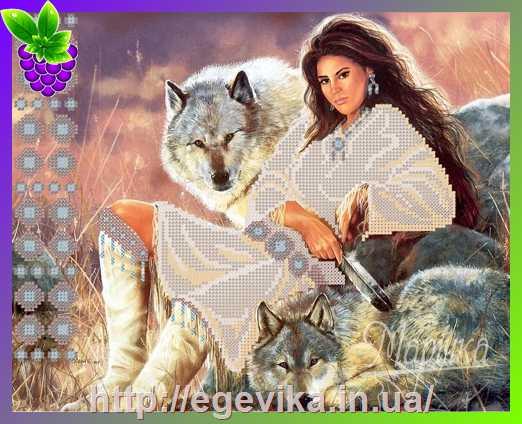 Индианка и волк вышивка