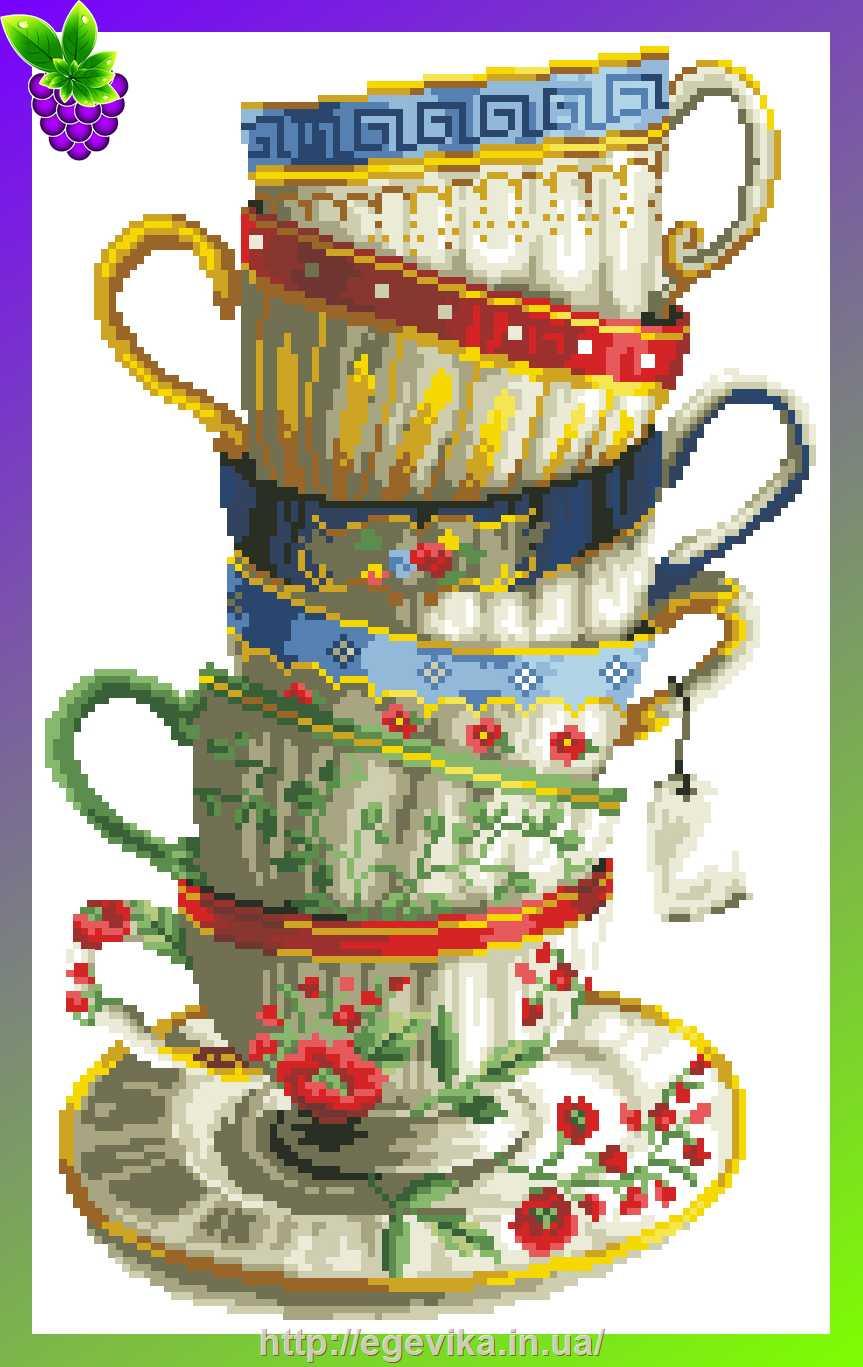 Чайные чашки схема вышивки