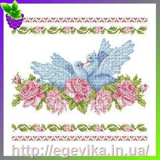 Фото Рушник свадебный, вышивка бисером, полиэстровое полотно (сатин)