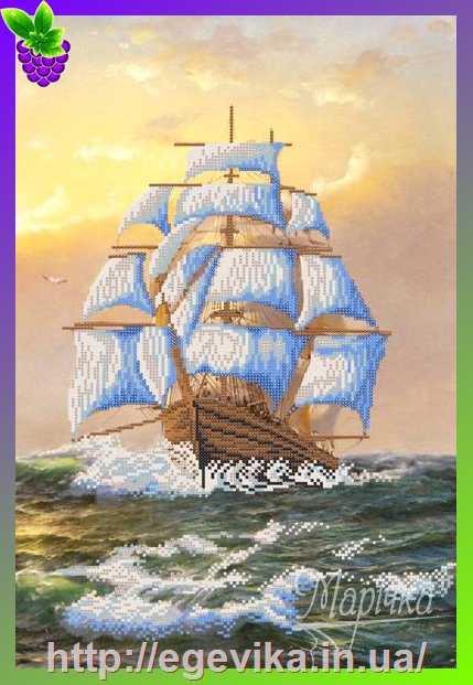 Корабль схема вышивка бисером
