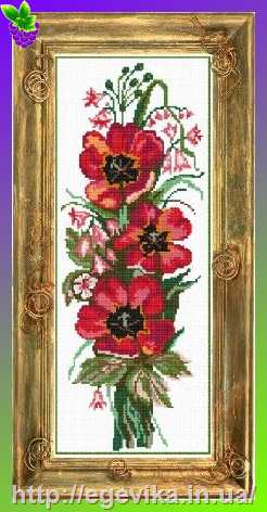 Схема вышивки золотые тюльпаны