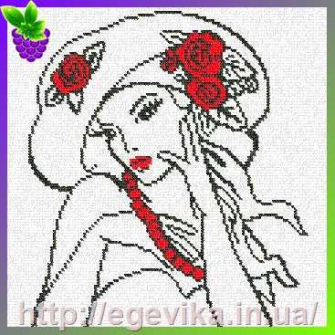 Женщина в шляпе-схемы вышивки