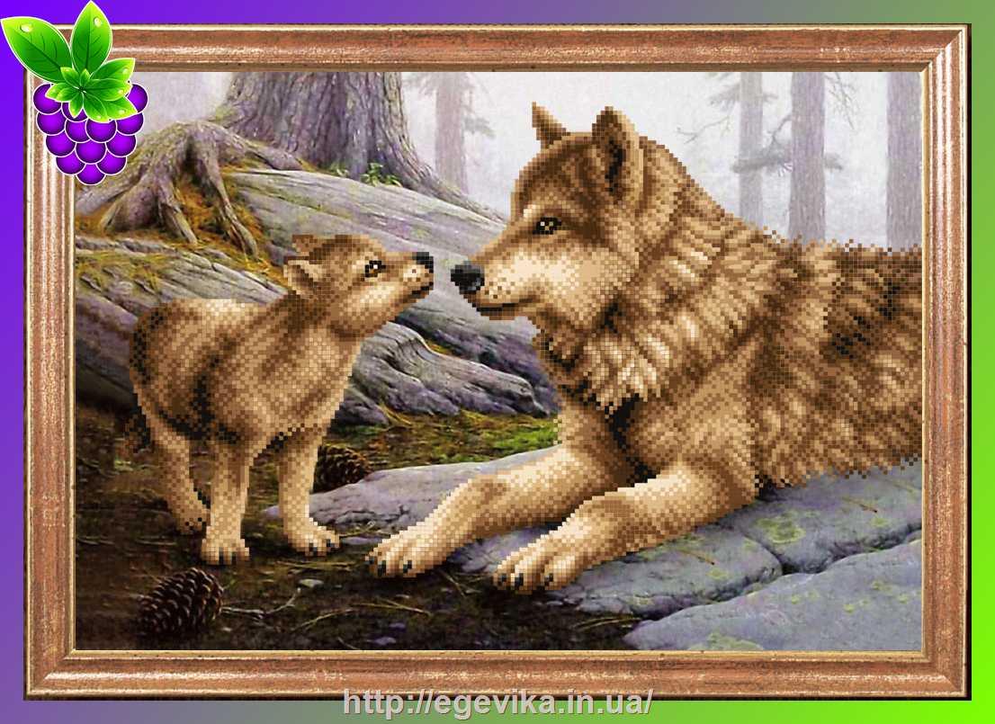 Волчица и волчонок бисером